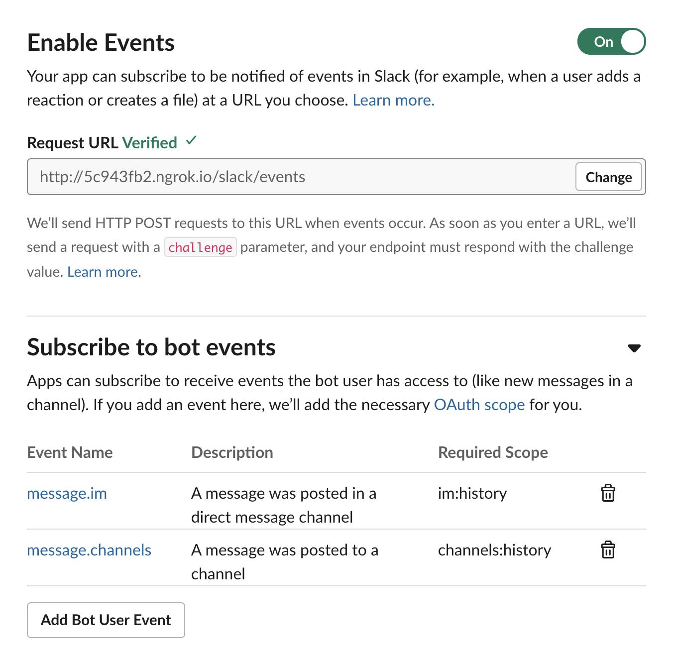 활성화된 슬랙 앱 이벤트 설정 화면