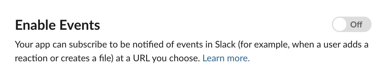슬랙 앱의 이벤트 활성화 토글 화면